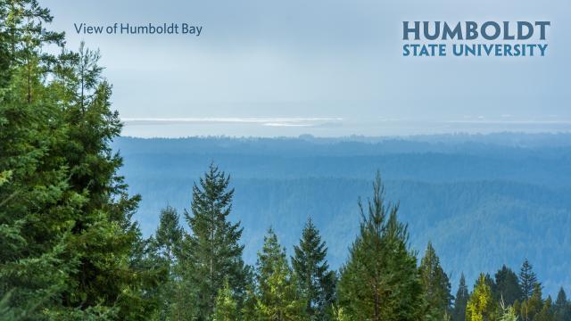 View of Humboldt Bay with HSU logo